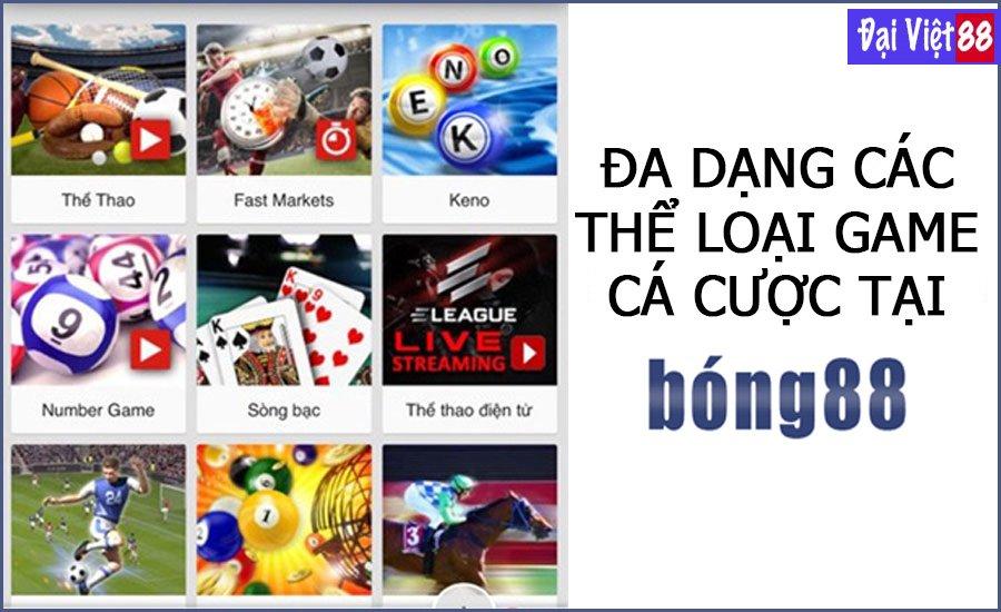 Các game có nhà cái Bong88 cung cấp