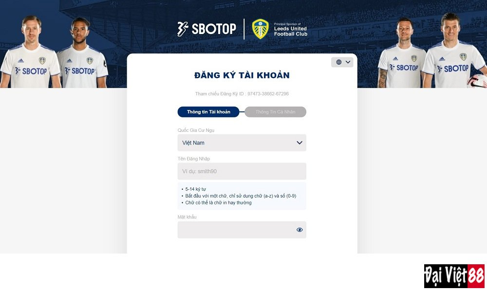 Form đăng ký SBOTOP