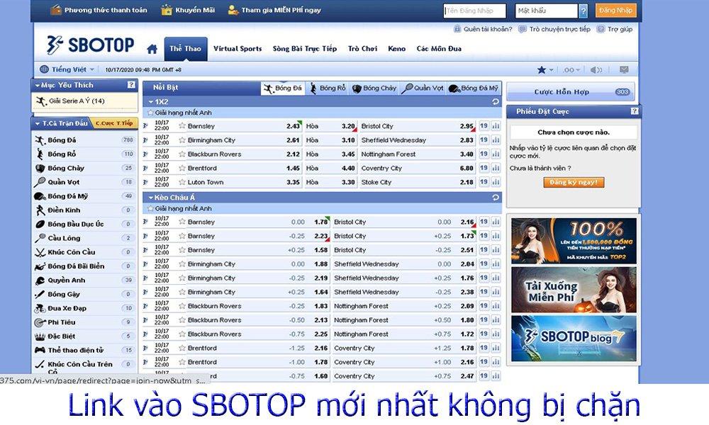 Link vào SBOTOP mới nhất không bị chặn